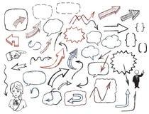 Flèches et ensemble tirés par la main d'illustration de bulles de la parole Image libre de droits