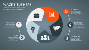 Flèches foncées de cercle de vecteur infographic, diagramme de cycle, graphique d'étoile, diagramme préféré de présentation Calib Photo stock