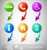 Flèches indicatrices de carte avec des symboles Photographie stock libre de droits
