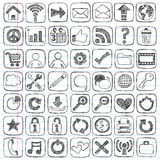 Flüchtige Gekritzel-Web-Ikonen-Computer-Auslegung-Elemente Lizenzfreie Stockfotos