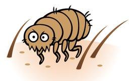 Flea on human or dog skin. Cartoon  illustration of flea biting on human or dog skin Stock Images