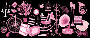 Flea market. Old things offered for sale - vector illustration- each object is isolated Stock Image