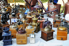 Flea market. Old coffee mills on a flea market royalty free stock image