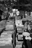 Flea Market. Black and white image of old stuff at the Montevideo Old Town Flea Market Stock Images