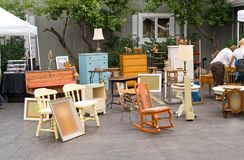Flea Market. Old fashioned furniture on a suburban flea market royalty free stock images
