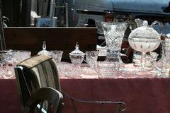 Flea Market. Glass & Crystal items for Stock Images