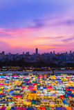 Flea market aerial view, at twilight