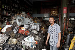 Scrap metal market in Bangkok. Sampeng Lane is parallel to Yaowarat Road, the main road of Chinatown. The market is open from 8:30 am to 5 pm everyday except Royalty Free Stock Photography