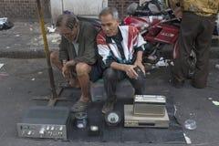 Selling old eletronic aparatus in Bangkok  Royalty Free Stock Photos