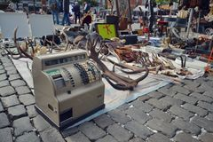 Flea market in Brussels, Belgium Royalty Free Stock Image