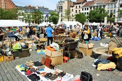 Flea market in Brussels, Belgium Royalty Free Stock Photo