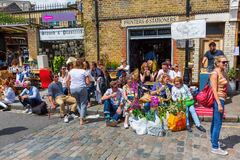 Flea market in a byroad of the Columbia Road Flower Market in London Stock Photos