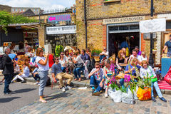 Flea market in a byroad of the Columbia Road Flower Market in London Royalty Free Stock Images