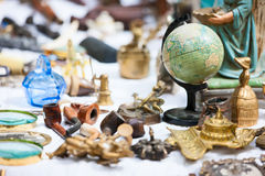 Flea market. Close up details of flea market stall in Bruges, Belgium stock photography