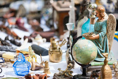 Flea market. Close up details of flea market stall in Bruges, Belgium royalty free stock photography