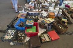 Flea market, Els Encants Vells, Barcelona. Royalty Free Stock Images