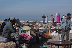 Flea market in Essaouira. The market on the coast of the Atlantic ocean stock photo