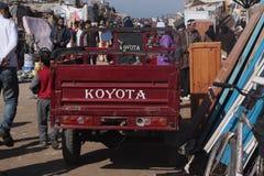 Flea market in Essaouira. It so interesting to find something in flea market of Maroc, like this famous Koyota car stock image
