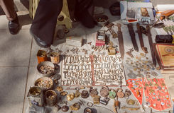 Flea market goods, rustic keys and metal locks on vintage showcase Royalty Free Stock Image