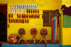 Flea market in Hampi, India stock images