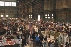 Retro brocante outlet flea market in the IJ-hallen, Amsterdam,Netherlands  Stock Image