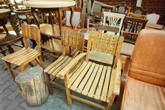 Flea market in Istanbul with wooden furniture Royalty Free Stock Photography