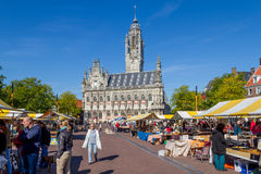 Flea market middelburg. Flea market at the  marketplace of Middelburg Royalty Free Stock Photography