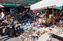 The flea market in Monastiraki on August 4, 2013 in Athens, Greece. Royalty Free Stock Photos