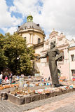 Flea market near Ivan Fedorov monument in Lviv, Ukraine Royalty Free Stock Image