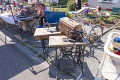 Flea market in Normandy. variety of household items at the flea market in Quiberville, France stock photo