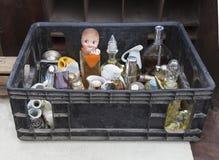 Flea market. Old box with old stuff. Stock Photos