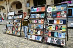 Flea market in old Havana, books about Che and Fidel Stock Image