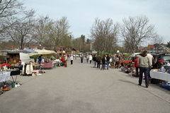 Flea market outside to the celebration of the 1st of May Stock Images