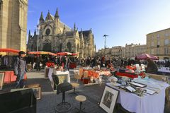 Flea market at Place de Saint Michael Royalty Free Stock Photography