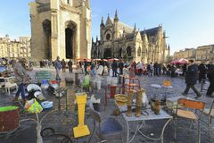Flea market at Place de Saint Michael Stock Images