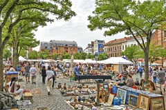 Flea market at Place du Jeu de Balle Stock Photography