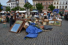 Flea market on Place du Jeu de Balle in Brussels, Belgium Royalty Free Stock Photo