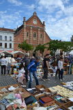 Flea market on Place du Jeu de Balle in Brussels, Belgium Stock Images