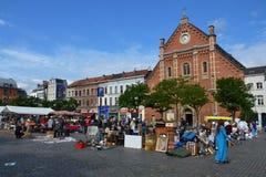 Flea market on Place du Jeu de Balle in Brussels, Belgium Royalty Free Stock Images