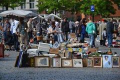 Flea market on Place du Jeu de Balle in Brussels, Belgium Royalty Free Stock Photo
