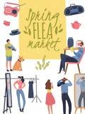 Flea market poster. Fashionable shopping second hand stylish goods clothes swap meet bazaar. Fleas market background. Flea market poster. Fashionable shopping royalty free illustration