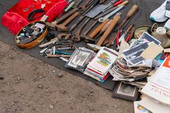 Flea market. Sale of old things. stock image