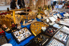 Flea market at square before Catedral de Barcelona Stock Photos