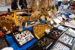 Flea market at square before Catedral de Barcelona Stock Photos