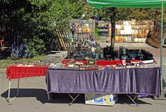 Flea market on square at the cathedral in Sofia Royalty Free Stock Images
