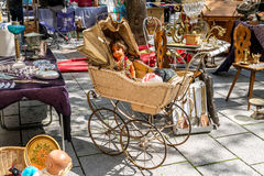 Flea market on the of Square in Strasburg. Royalty Free Stock Images