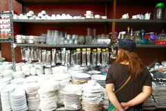 Flea market stores in Dapitan Arcade in Manila, Philippines selling houseware and home decor. Stock Photos