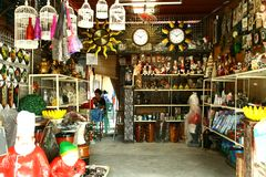 Flea market stores in Dapitan Arcade in Manila, Philippines selling houseware and home decor. Stock Image