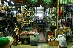 Flea market stores in Dapitan Arcade in Manila, Philippines selling houseware and home decor. Royalty Free Stock Image