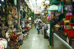 Flea market stores in Dapitan Arcade in Manila, Philippines selling houseware and home decor. Stock Photography